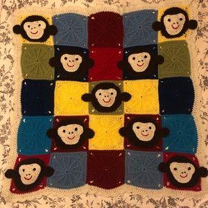 Handmade Granny Square Monkey Baby Blanket 40 x 40